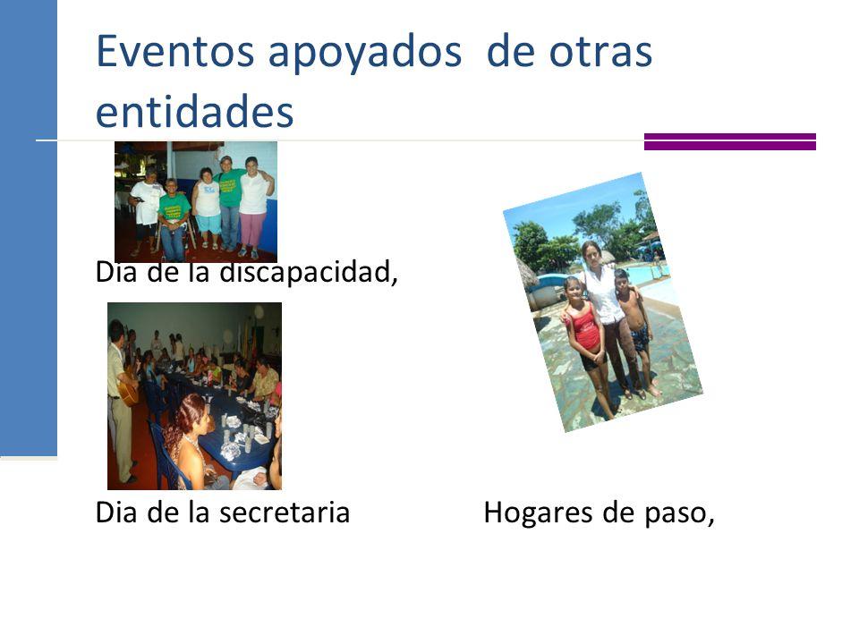 Eventos apoyados de otras entidades Día de la discapacidad, Dia de la secretaria Hogares de paso,