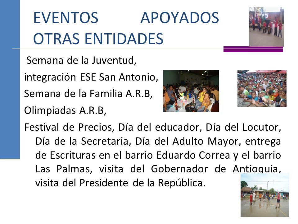 EVENTOS APOYADOS DE OTRAS ENTIDADES Semana de la Juventud, integración ESE San Antonio, Semana de la Familia A.R.B, Olimpiadas A.R.B, Festival de Prec