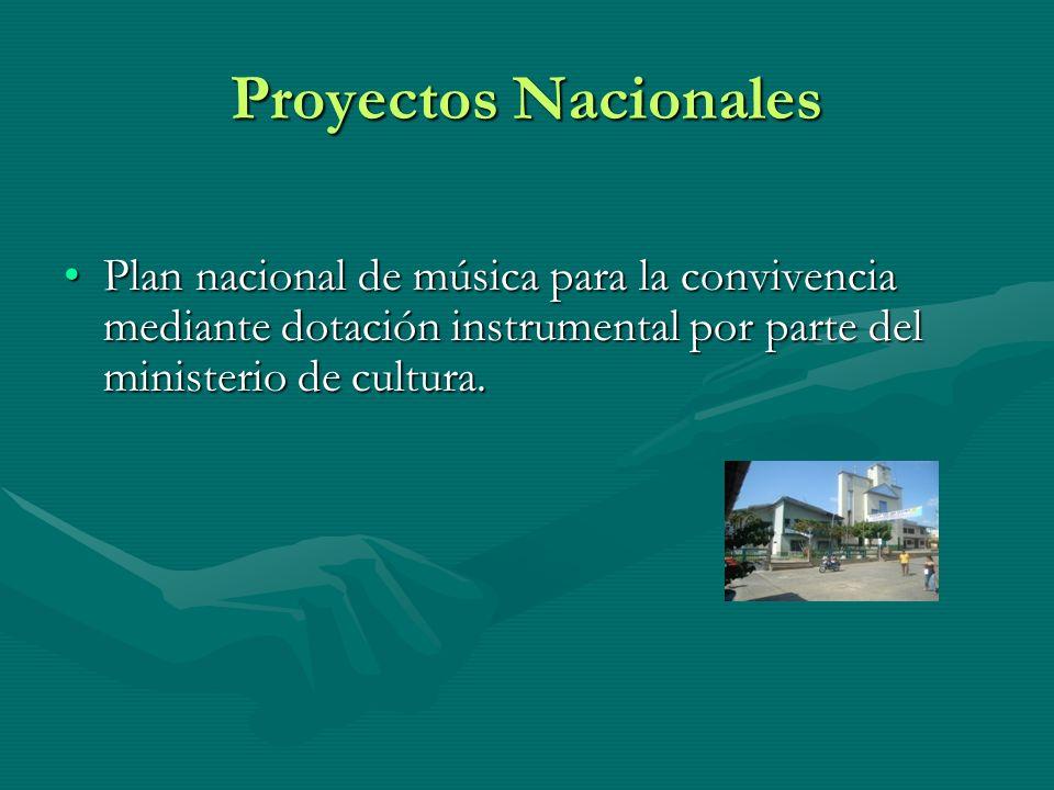 Proyectos Nacionales Plan nacional de música para la convivencia mediante dotación instrumental por parte del ministerio de cultura.Plan nacional de m