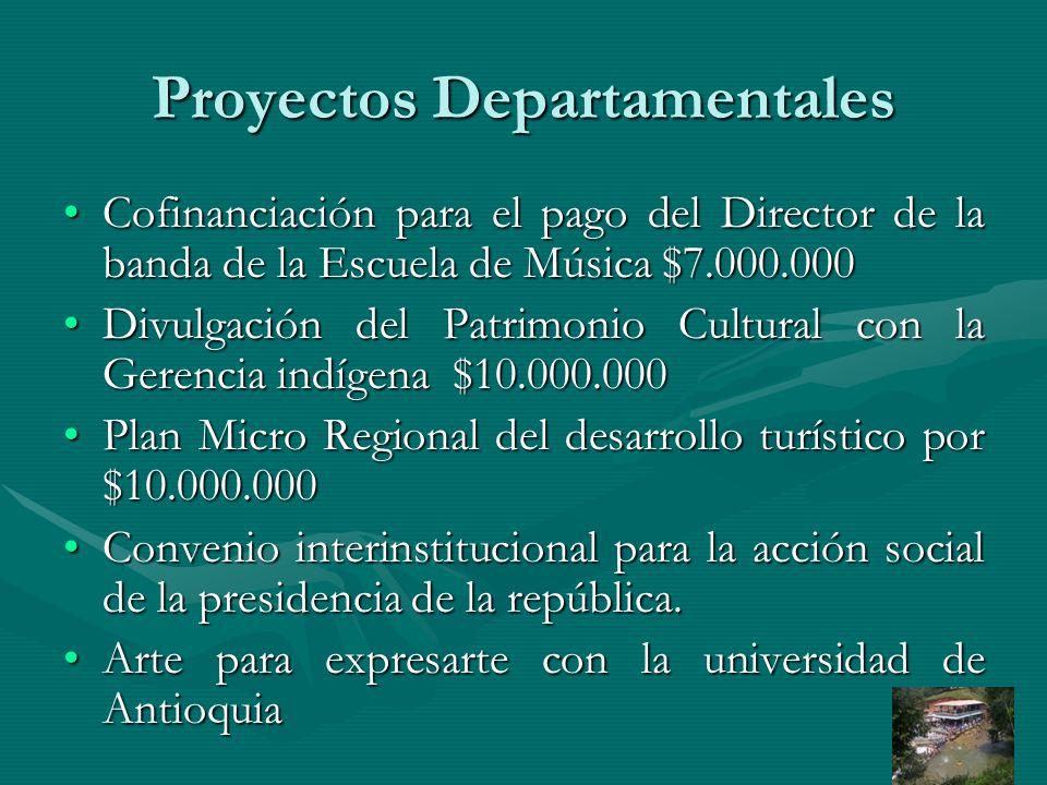 Proyectos Departamentales Cofinanciación para el pago del Director de la banda de la Escuela de Música $7.000.000Cofinanciación para el pago del Direc