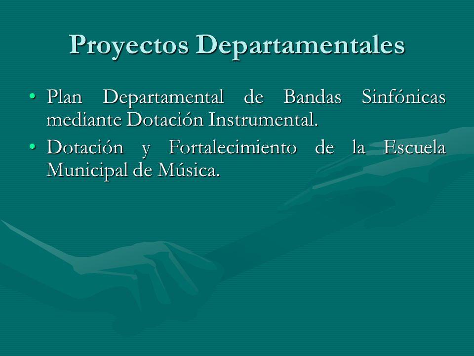 Proyectos Departamentales Plan Departamental de Bandas Sinfónicas mediante Dotación Instrumental.Plan Departamental de Bandas Sinfónicas mediante Dota