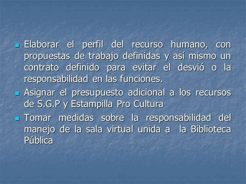 Elaborar el perfil del recurso humano, con propuestas de trabajo definidas y así mismo un contrato definido para evitar el desvió o la responsabilidad