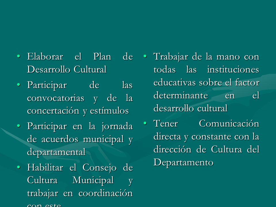 Elaborar el Plan de Desarrollo CulturalElaborar el Plan de Desarrollo Cultural Participar de las convocatorias y de la concertación y estímulosPartici