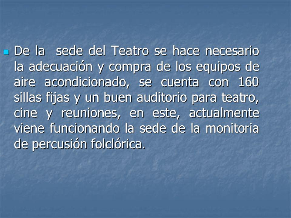 De la sede del Teatro se hace necesario la adecuación y compra de los equipos de aire acondicionado, se cuenta con 160 sillas fijas y un buen auditori
