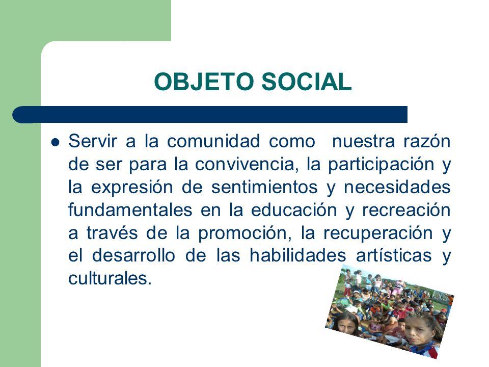 OBJETO SOCIAL Servir a la comunidad como nuestra razón de ser para la convivencia, la participación y la expresión de sentimientos y necesidades funda