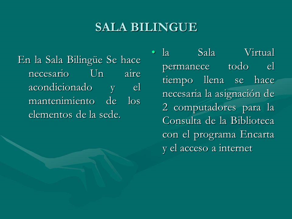 SALA BILINGUE En la Sala Bilingüe Se hace necesario Un aire acondicionado y el mantenimiento de los elementos de la sede. la Sala Virtual permanece to