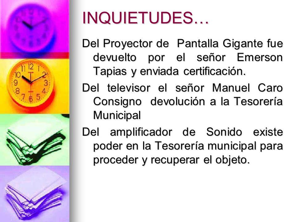INQUIETUDES… Del Proyector de Pantalla Gigante fue devuelto por el señor Emerson Tapias y enviada certificación. Del televisor el señor Manuel Caro Co