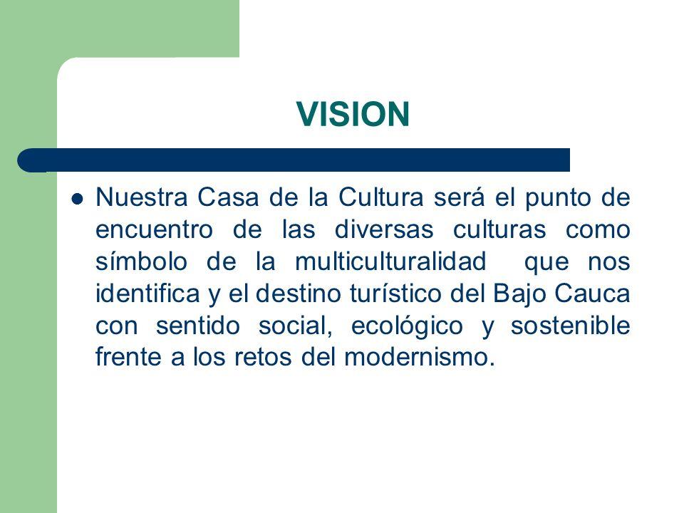 VISION Nuestra Casa de la Cultura será el punto de encuentro de las diversas culturas como símbolo de la multiculturalidad que nos identifica y el des