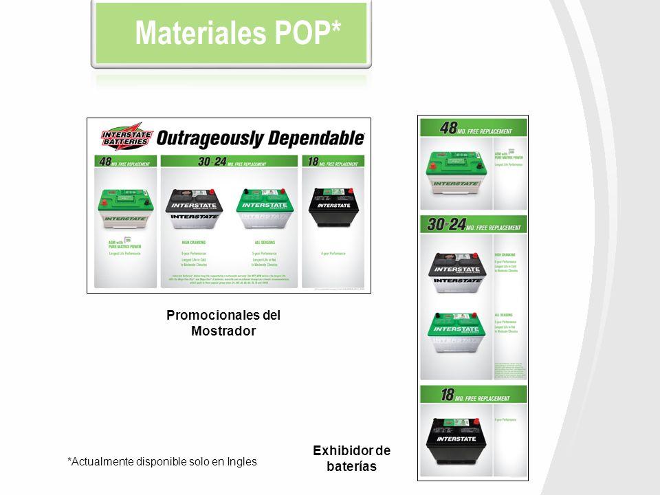 Materiales POP* Promocionales del Mostrador Exhibidor de baterías *Actualmente disponible solo en Ingles