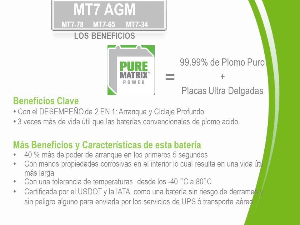 Pure Matrix MT7-78 MT7-65 MT7-34 BENEFITS Beneficios Clave Con el DESEMPEÑO de 2 EN 1: Arranque y Ciclaje Profundo 3 veces más de vida útil que las ba