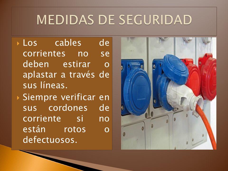 Los cables de corrientes no se deben estirar o aplastar a través de sus líneas. Siempre verificar en sus cordones de corriente si no están rotos o def