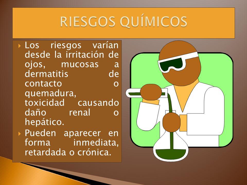 Los riesgos varían desde la irritación de ojos, mucosas a dermatitis de contacto o quemadura, toxicidad causando daño renal o hepático. Pueden aparece