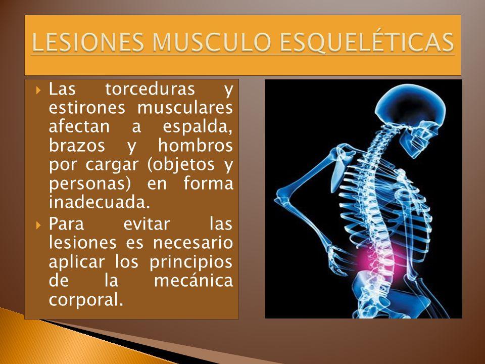 Las torceduras y estirones musculares afectan a espalda, brazos y hombros por cargar (objetos y personas) en forma inadecuada. Para evitar las lesione