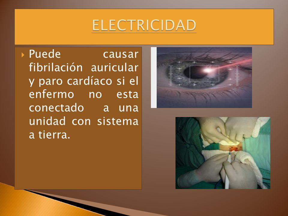 Puede causar fibrilación auricular y paro cardíaco si el enfermo no esta conectado a una unidad con sistema a tierra.