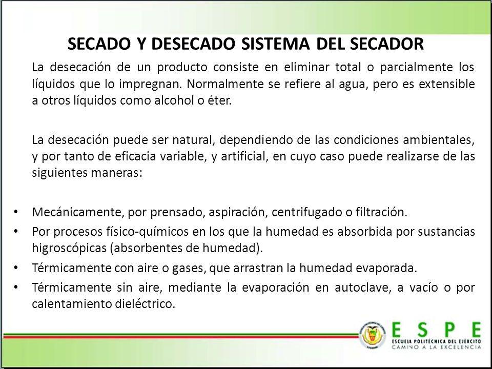 SECADO Y DESECADO SISTEMA DEL SECADOR La desecación de un producto consiste en eliminar total o parcialmente los líquidos que lo impregnan. Normalment