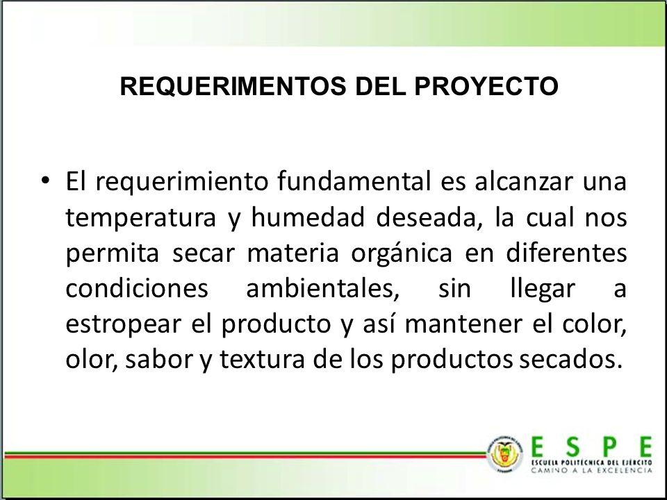 El requerimiento fundamental es alcanzar una temperatura y humedad deseada, la cual nos permita secar materia orgánica en diferentes condiciones ambie
