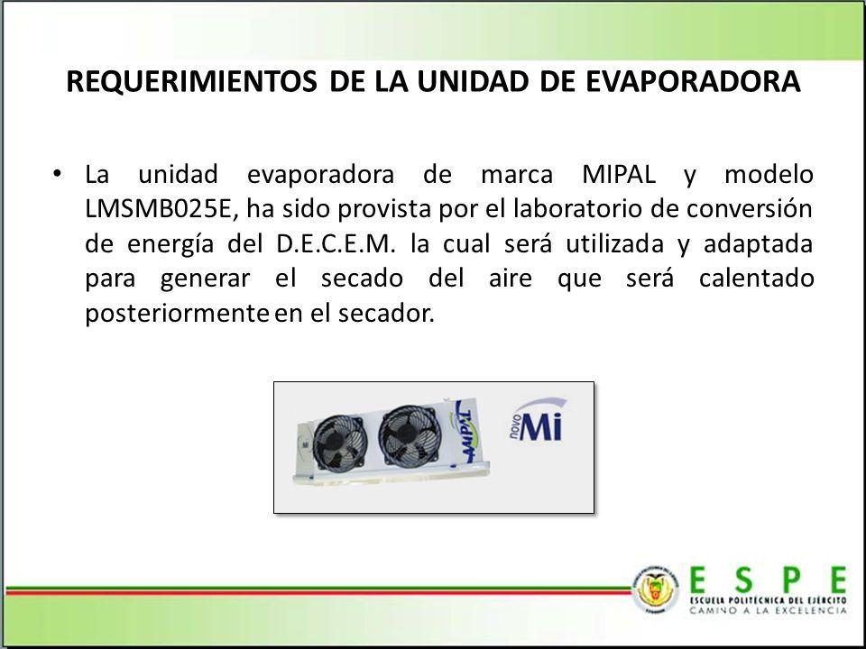 REQUERIMIENTOS DE LA UNIDAD DE EVAPORADORA La unidad evaporadora de marca MIPAL y modelo LMSMB025E, ha sido provista por el laboratorio de conversión