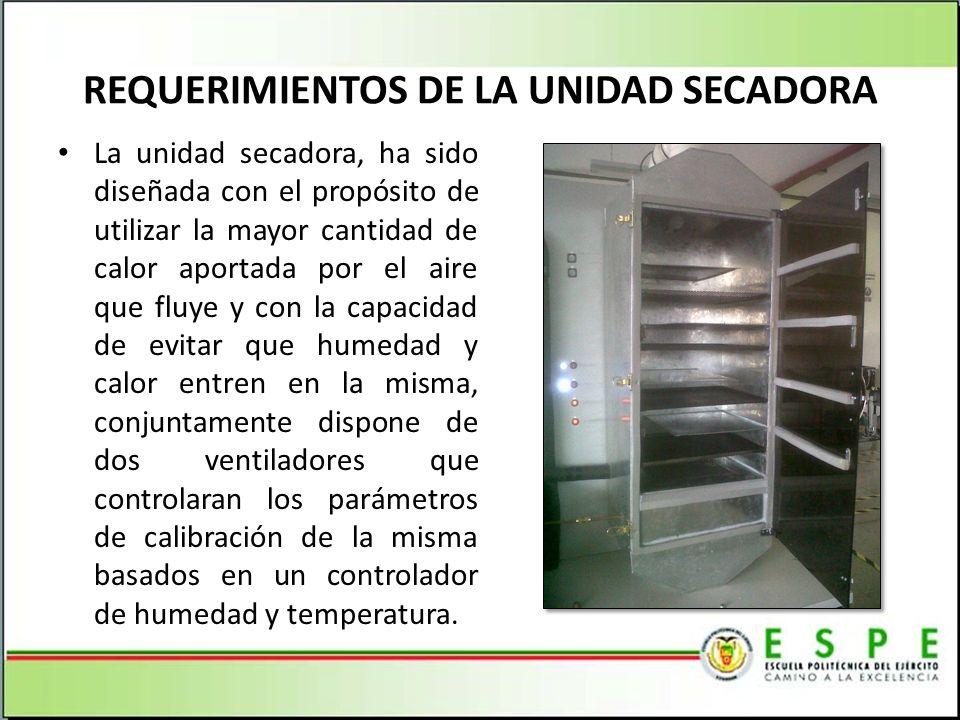 REQUERIMIENTOS DE LA UNIDAD SECADORA La unidad secadora, ha sido diseñada con el propósito de utilizar la mayor cantidad de calor aportada por el aire