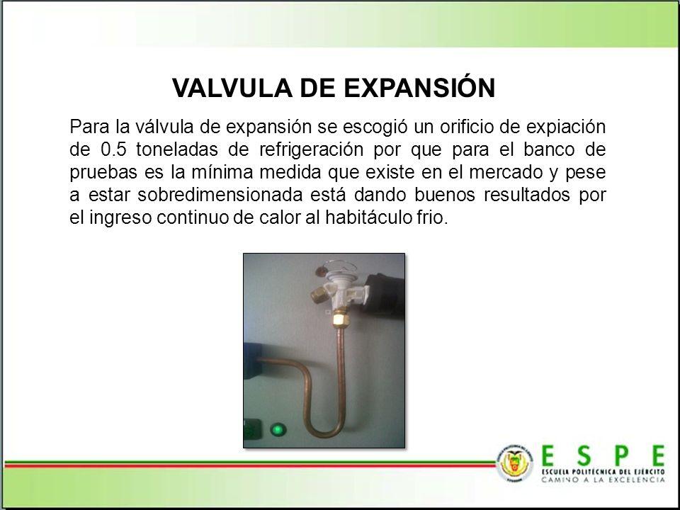 VALVULA DE EXPANSIÓN Para la válvula de expansión se escogió un orificio de expiación de 0.5 toneladas de refrigeración por que para el banco de prueb