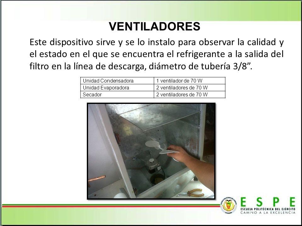VENTILADORES Unidad Condensadora1 ventilador de 70 W Unidad Evaporadora2 ventiladores de 70 W Secador2 ventiladores de 70 W Este dispositivo sirve y s