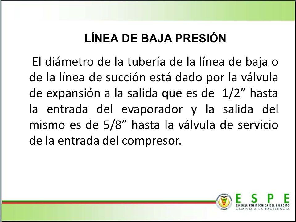 El diámetro de la tubería de la línea de baja o de la línea de succión está dado por la válvula de expansión a la salida que es de 1/2 hasta la entrad