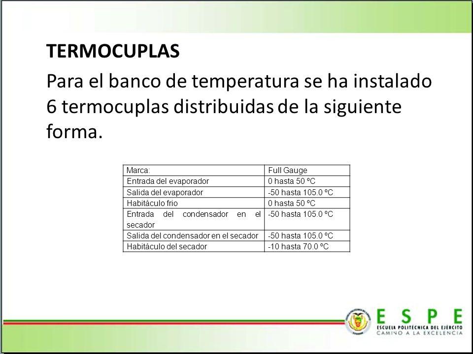 TERMOCUPLAS Para el banco de temperatura se ha instalado 6 termocuplas distribuidas de la siguiente forma. Marca:Full Gauge Entrada del evaporador0 ha