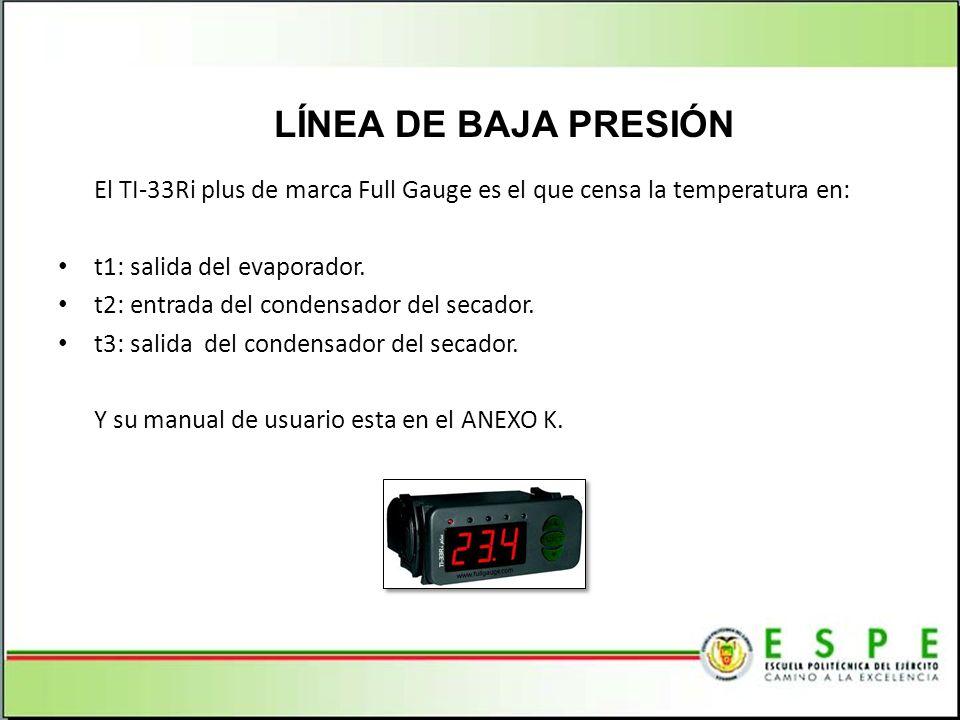 El TI-33Ri plus de marca Full Gauge es el que censa la temperatura en: t1: salida del evaporador. t2: entrada del condensador del secador. t3: salida