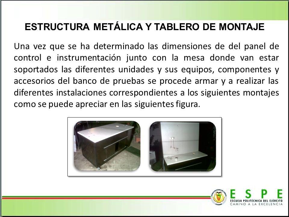 Una vez que se ha determinado las dimensiones de del panel de control e instrumentación junto con la mesa donde van estar soportados las diferentes un