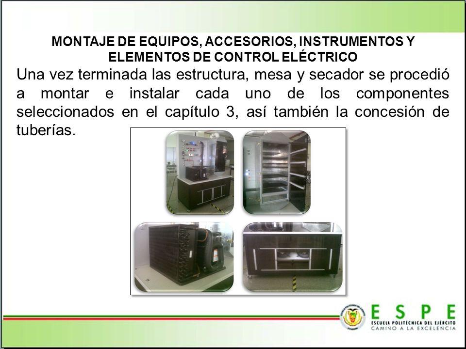 MONTAJE DE EQUIPOS, ACCESORIOS, INSTRUMENTOS Y ELEMENTOS DE CONTROL ELÉCTRICO Una vez terminada las estructura, mesa y secador se procedió a montar e