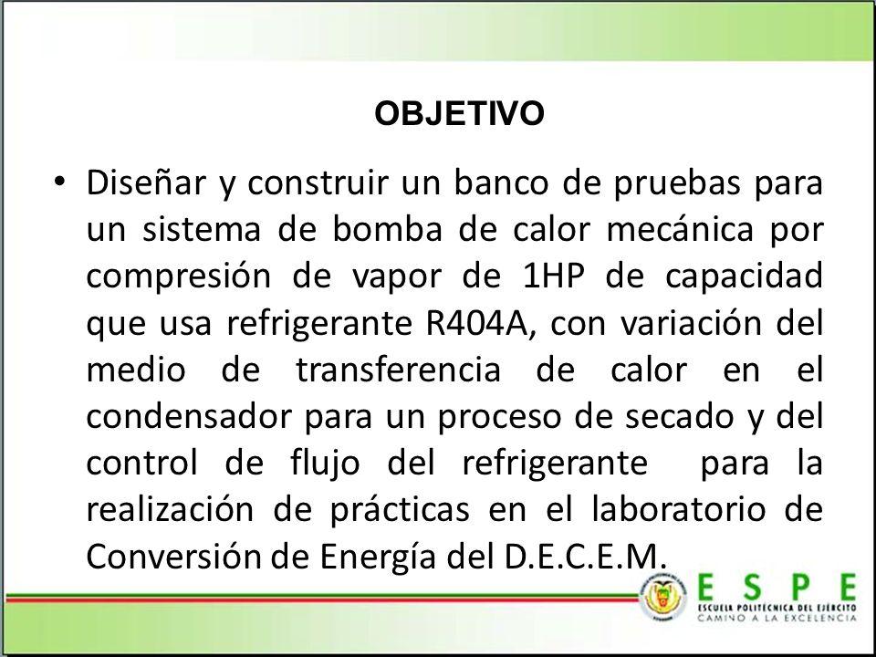 Diseñar y construir un banco de pruebas para un sistema de bomba de calor mecánica por compresión de vapor de 1HP de capacidad que usa refrigerante R4