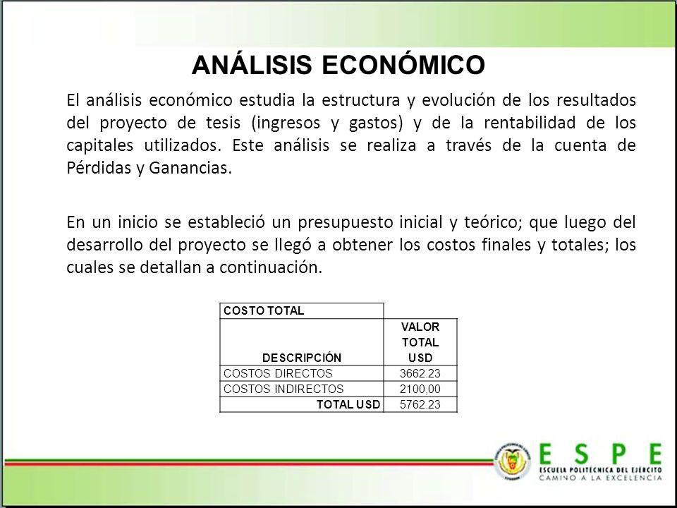 El análisis económico estudia la estructura y evolución de los resultados del proyecto de tesis (ingresos y gastos) y de la rentabilidad de los capita