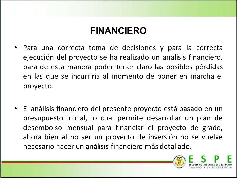 Para una correcta toma de decisiones y para la correcta ejecución del proyecto se ha realizado un análisis financiero, para de esta manera poder tener