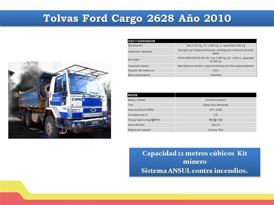Tolvas Ford Cargo 2628 Año 2010 Capacidad 12 metros cúbicos Kit minero Sistema ANSUL contra incendios.