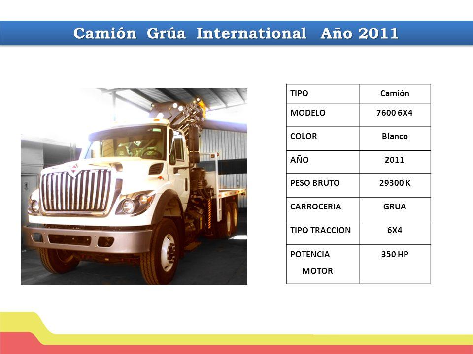 Camión Grúa International Año 2011 TIPOCamión MODELO7600 6X4 COLORBlanco AÑO2011 PESO BRUTO29300 K CARROCERIAGRUA TIPO TRACCION6X4 POTENCIA MOTOR 350 HP