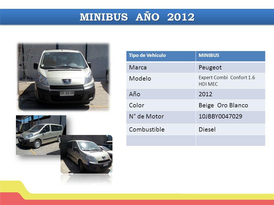 Tipo de VehículoMINIBUS MarcaPeugeot Modelo Expert Combi Confort 1.6 HDI MEC Año2012 ColorBeige Oro Blanco N° de Motor10JBBY0047029 CombustibleDiesel MINIBUS AÑO 2012