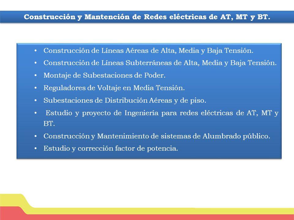 Construcción de Líneas Aéreas de Alta, Media y Baja Tensión.