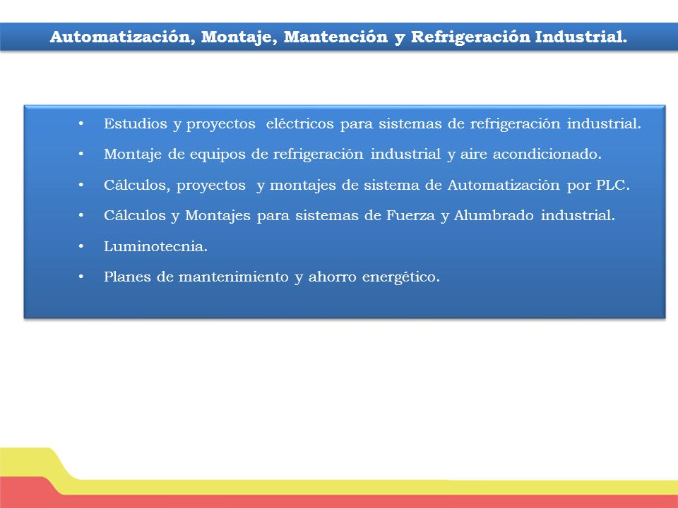 Estudios y proyectos eléctricos para sistemas de refrigeración industrial.