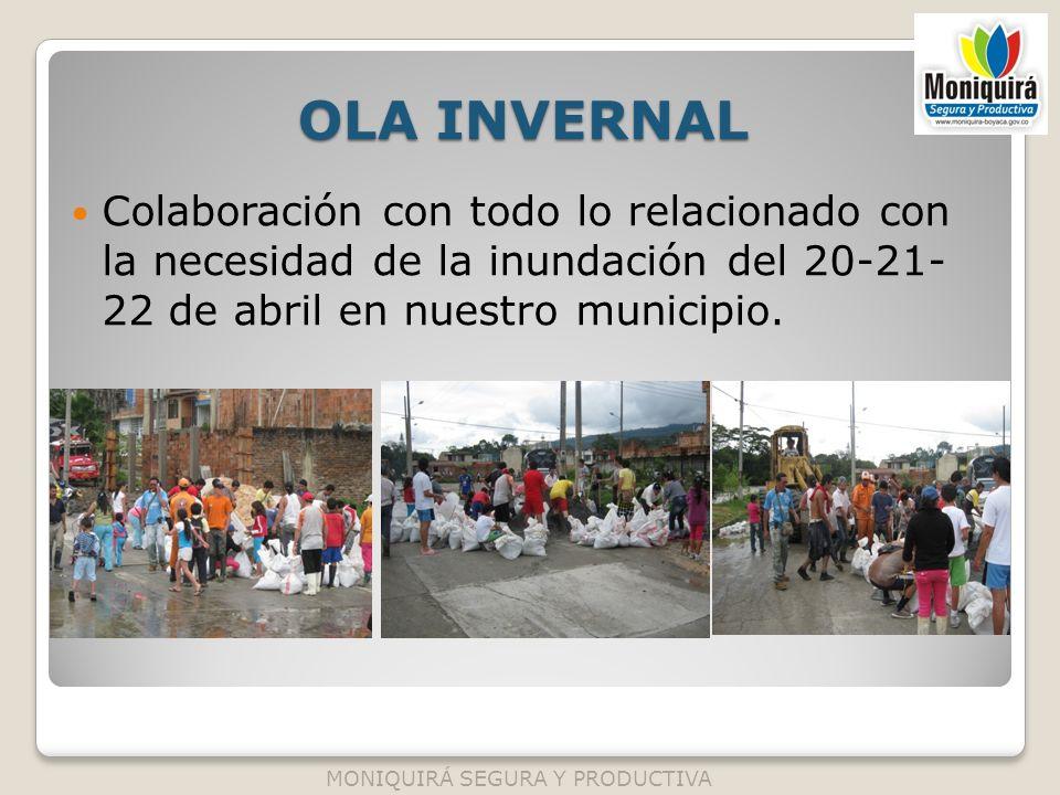 OLA INVERNAL Colaboración con todo lo relacionado con la necesidad de la inundación del 20-21- 22 de abril en nuestro municipio. MONIQUIRÁ SEGURA Y PR