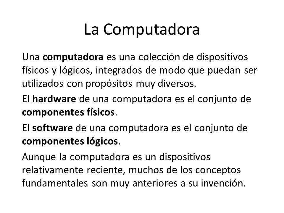 La Computadora Una computadora es una colección de dispositivos físicos y lógicos, integrados de modo que puedan ser utilizados con propósitos muy div
