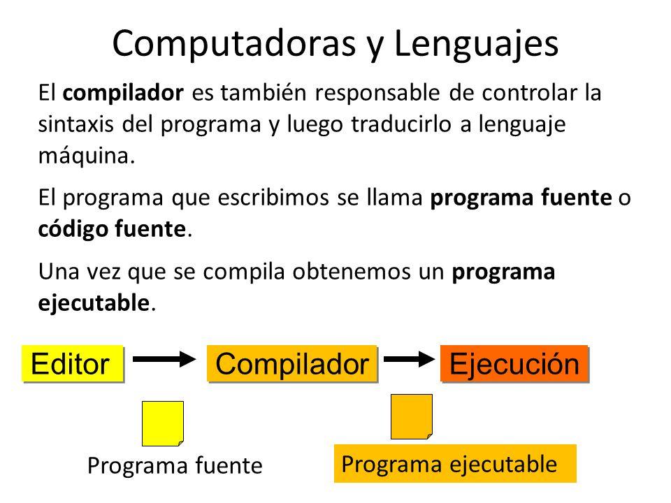 El compilador es también responsable de controlar la sintaxis del programa y luego traducirlo a lenguaje máquina. El programa que escribimos se llama