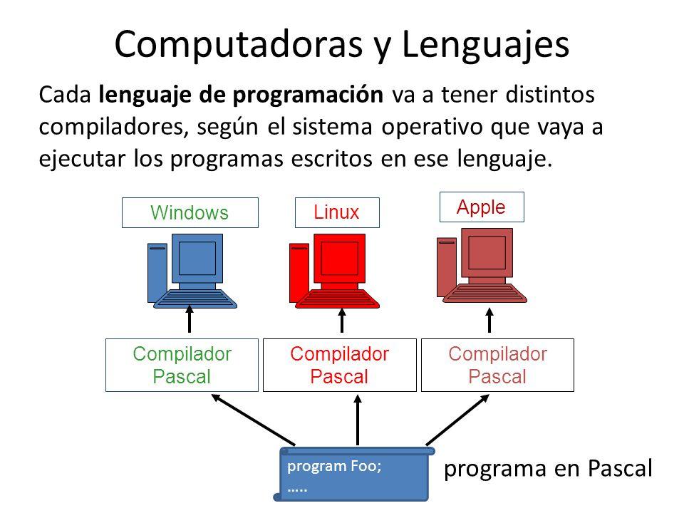 Cada lenguaje de programación va a tener distintos compiladores, según el sistema operativo que vaya a ejecutar los programas escritos en ese lenguaje