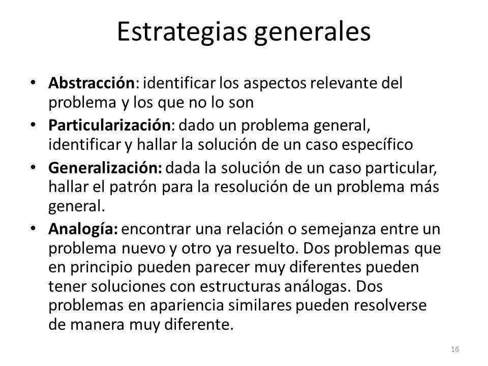 Abstracción: identificar los aspectos relevante del problema y los que no lo son Particularización: dado un problema general, identificar y hallar la