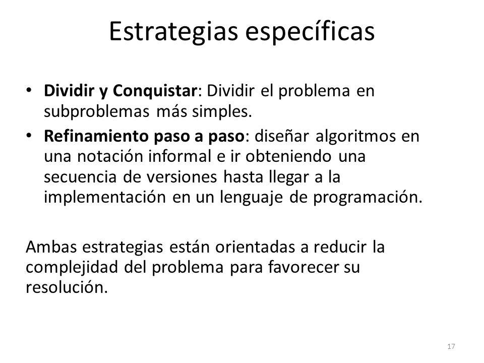 Dividir y Conquistar: Dividir el problema en subproblemas más simples. Refinamiento paso a paso: diseñar algoritmos en una notación informal e ir obte