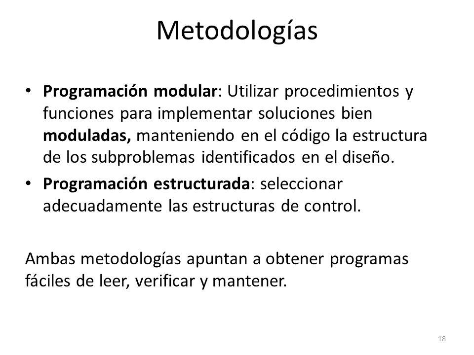 Programación modular: Utilizar procedimientos y funciones para implementar soluciones bien moduladas, manteniendo en el código la estructura de los su