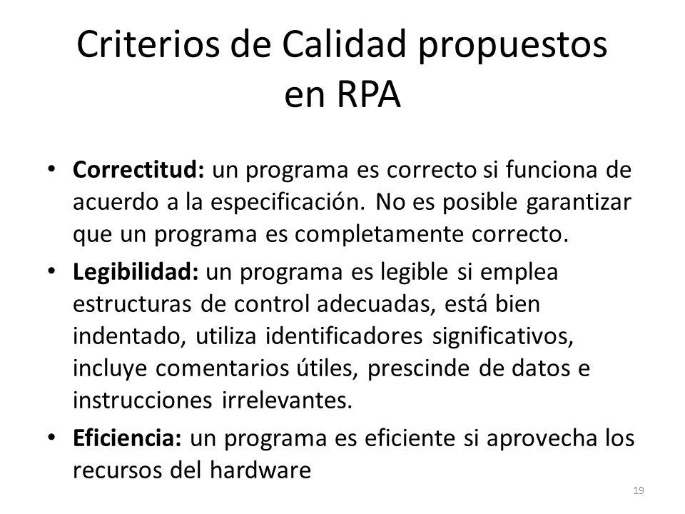 Correctitud: un programa es correcto si funciona de acuerdo a la especificación. No es posible garantizar que un programa es completamente correcto. L