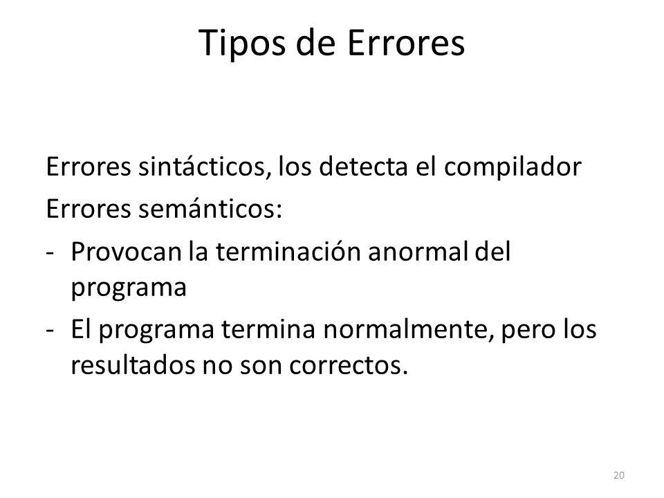 Errores sintácticos, los detecta el compilador Errores semánticos: -Provocan la terminación anormal del programa -El programa termina normalmente, per