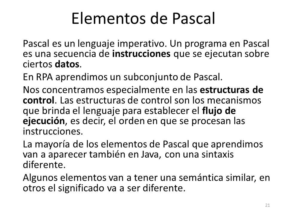 Pascal es un lenguaje imperativo. Un programa en Pascal es una secuencia de instrucciones que se ejecutan sobre ciertos datos. En RPA aprendimos un su