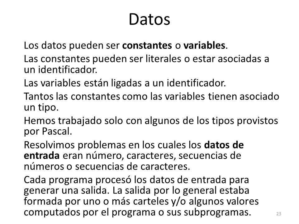 Los datos pueden ser constantes o variables. Las constantes pueden ser literales o estar asociadas a un identificador. Las variables están ligadas a u