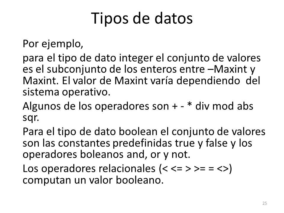 Por ejemplo, para el tipo de dato integer el conjunto de valores es el subconjunto de los enteros entre –Maxint y Maxint. El valor de Maxint varía dep