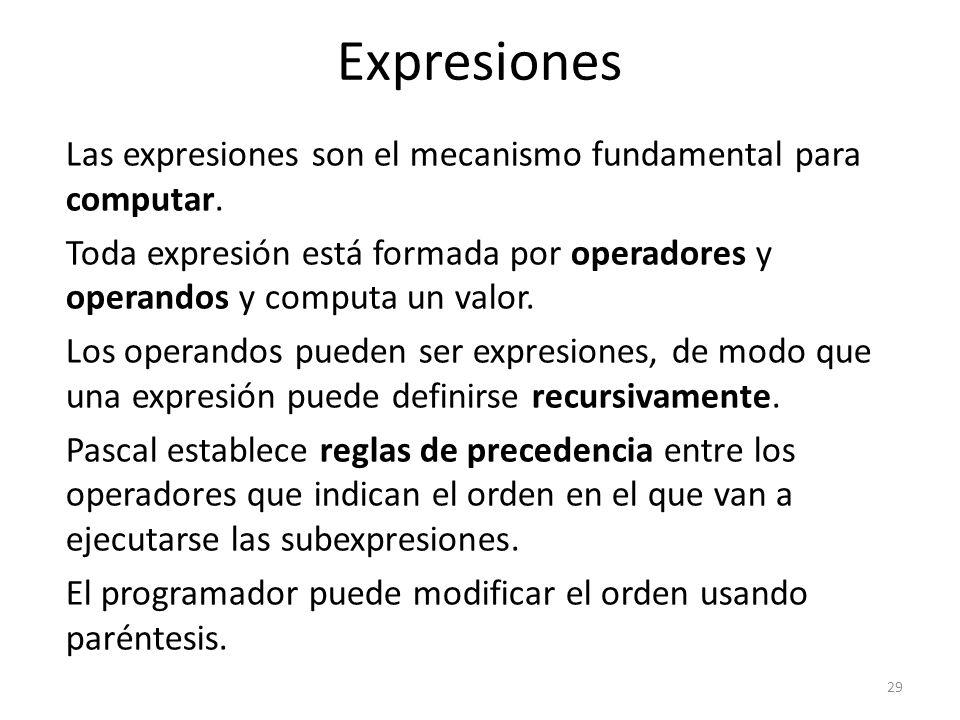 Las expresiones son el mecanismo fundamental para computar. Toda expresión está formada por operadores y operandos y computa un valor. Los operandos p